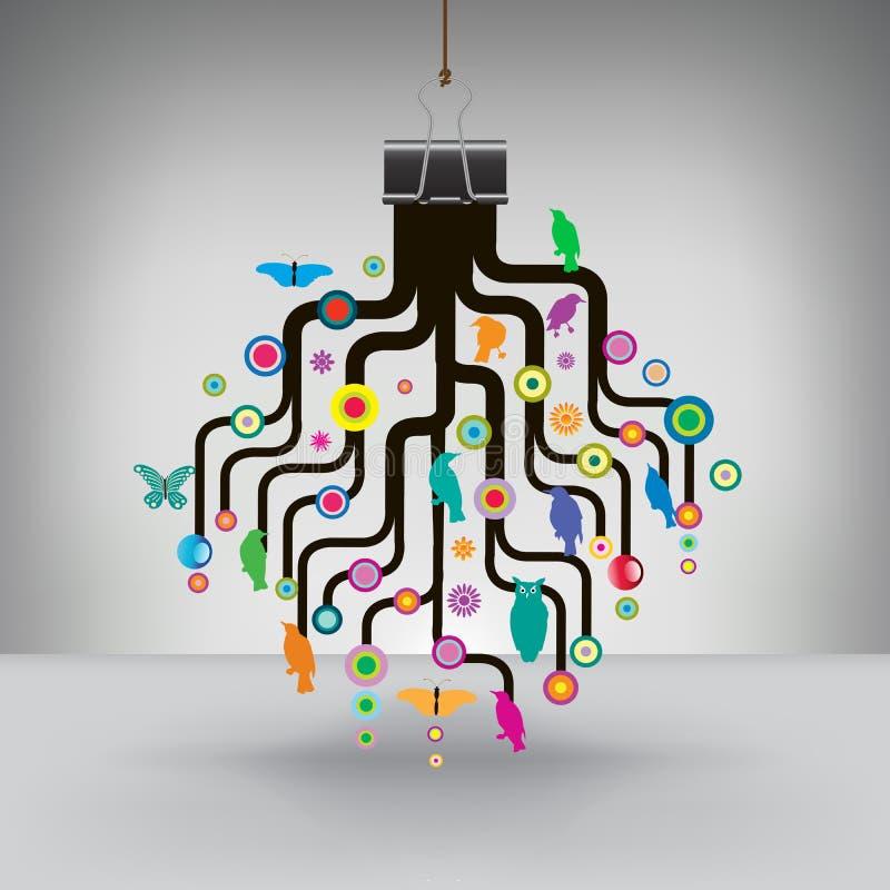 Färgrikt träd som hängs av ett limbindninggem royaltyfri illustrationer