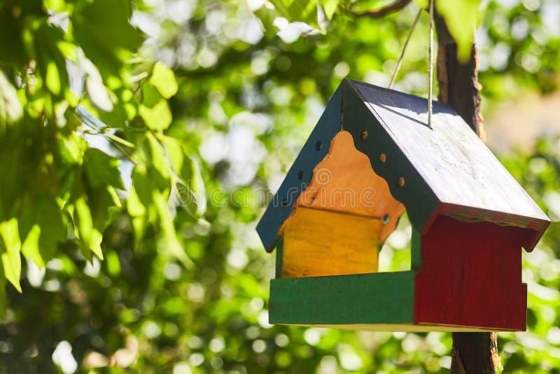 Färgrikt träfågelhus som hänger från trädet och omger av frodig lövverk arkivbild
