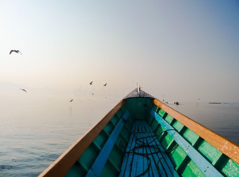 Färgrikt träfartyg på stillsamt vatten med främsta små fåglar arkivfoton