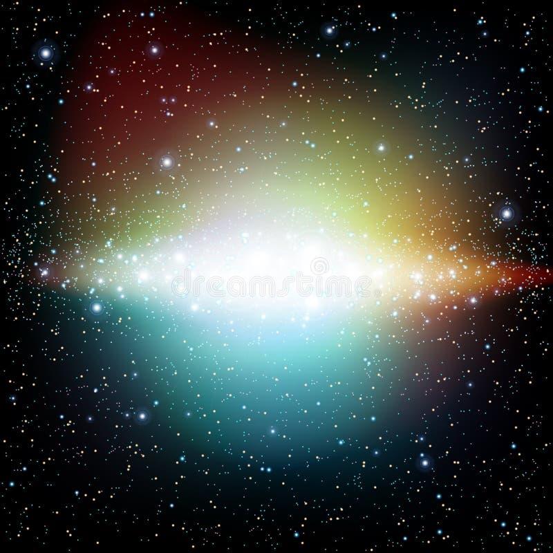 Färgrikt universum fyllde med den stjärnanebulosan och galaxen vektor illustrationer