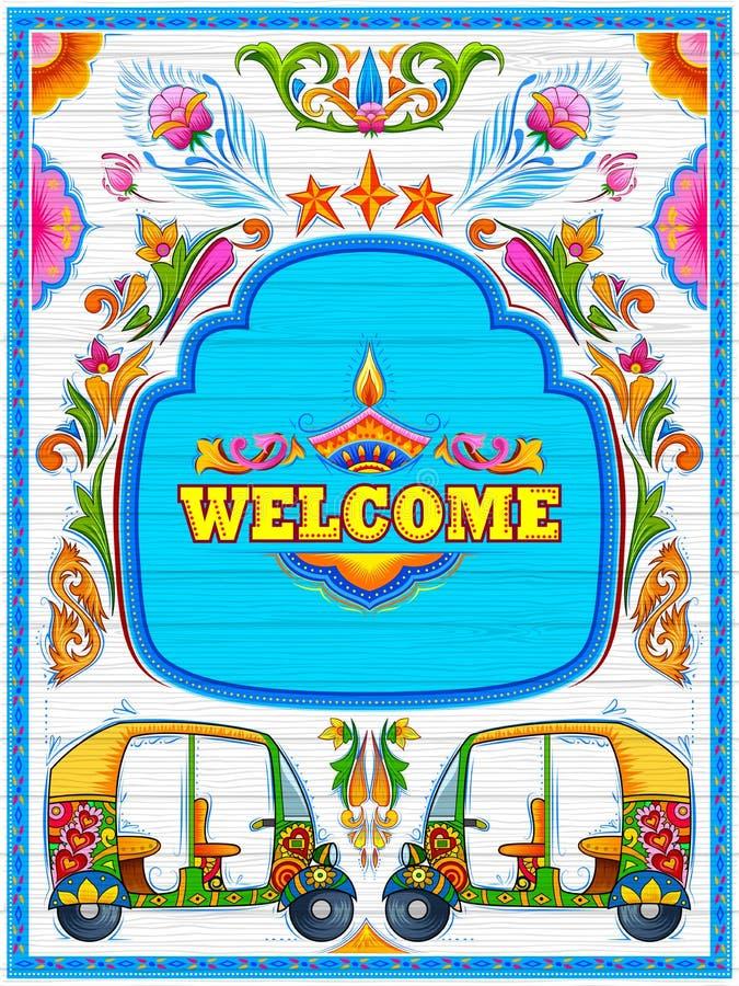 Färgrikt välkommet baner i stil för lastbilkonsthötorgskonst av Indien stock illustrationer