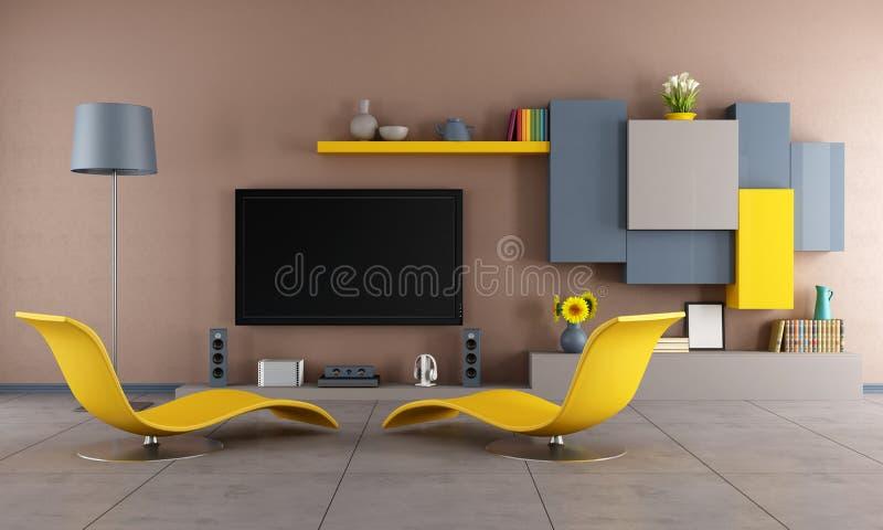 färgrikt vardagsrum vektor illustrationer