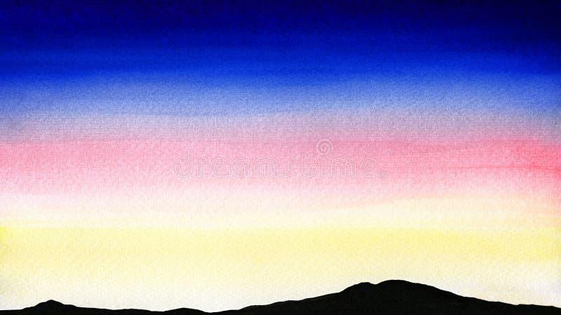 Färgrikt vattenfärglandskap av solnedgången eller gryning över konturbergen stock illustrationer
