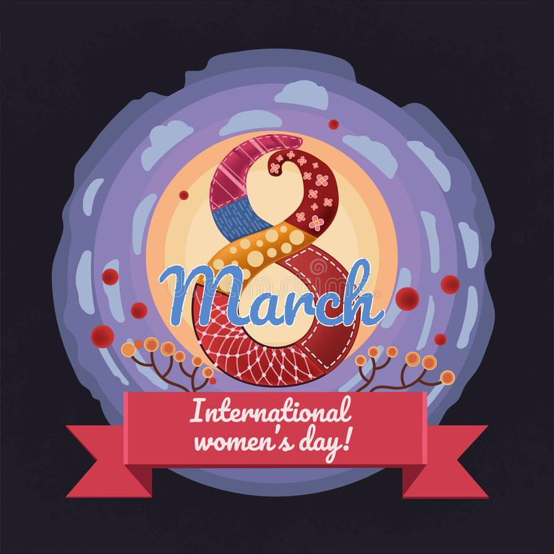 Färgrikt vektor, design för kort för tecknad filmstilhälsning för 8 marsch, internationell dag för kvinna` s vektor illustrationer