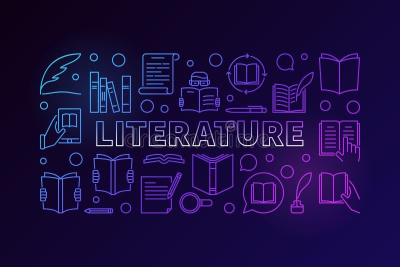 Färgrikt vektorbaner för litteratur stock illustrationer