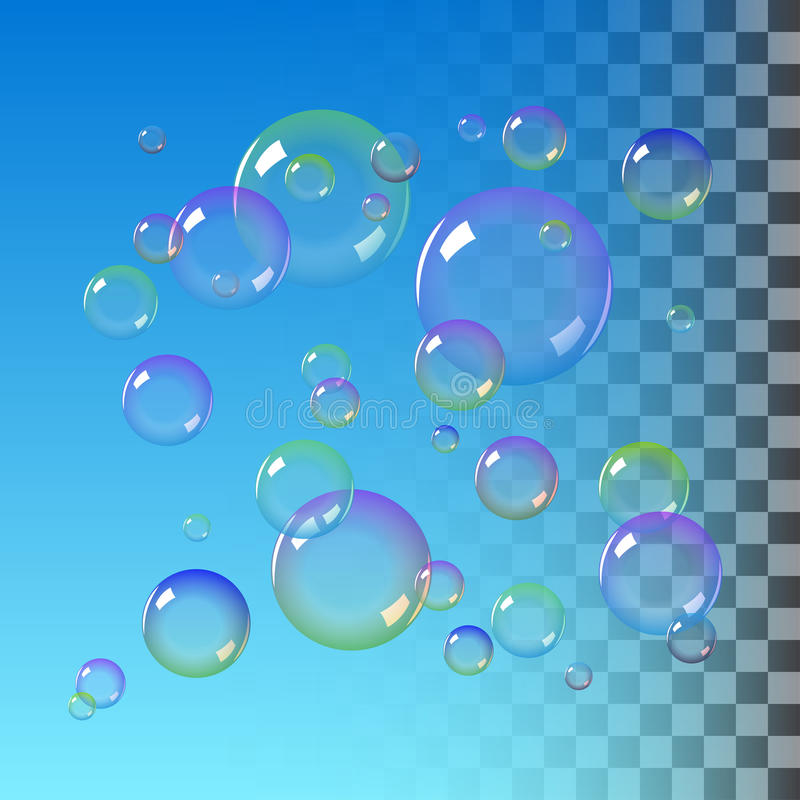Färgsåpbubblor stock illustrationer