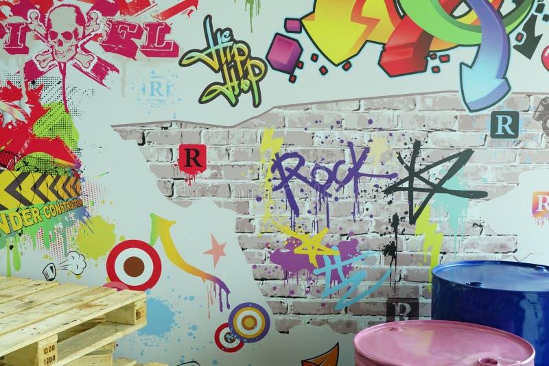 Färgscener med graffiti-trummor och palett arkivbilder