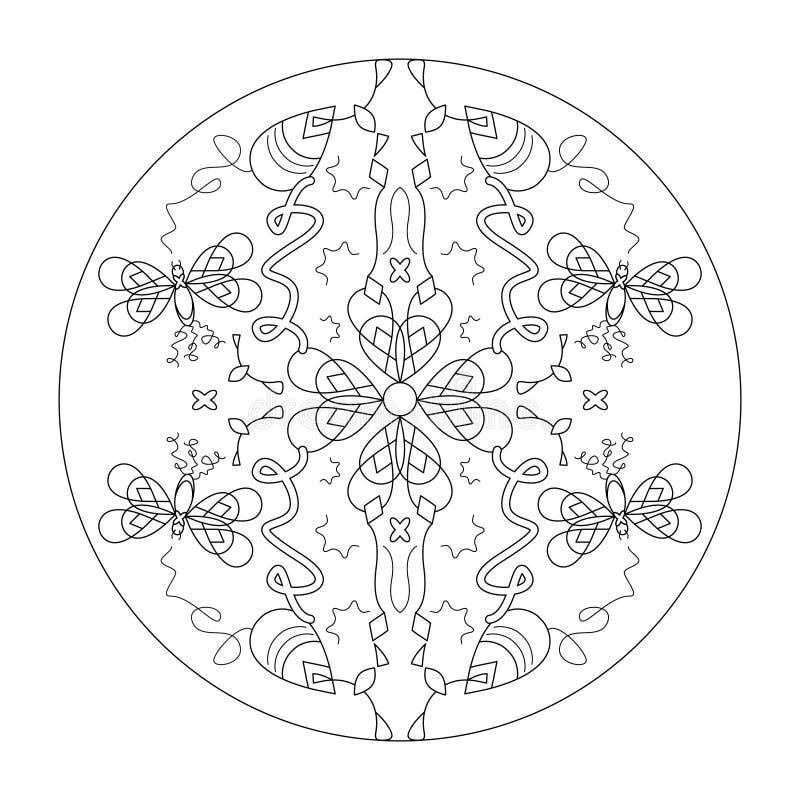 Färgsida för Mandala Butterflies mandala, illustrationsvektor svart och vitt Art Therapy Dekorativa element royaltyfri bild