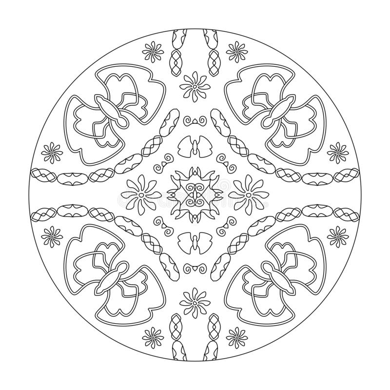 Färgsida för Mandala Butterflies mandala med blommor, illustration vektor svart och vitt Art Therapy Dekorativa element arkivbilder