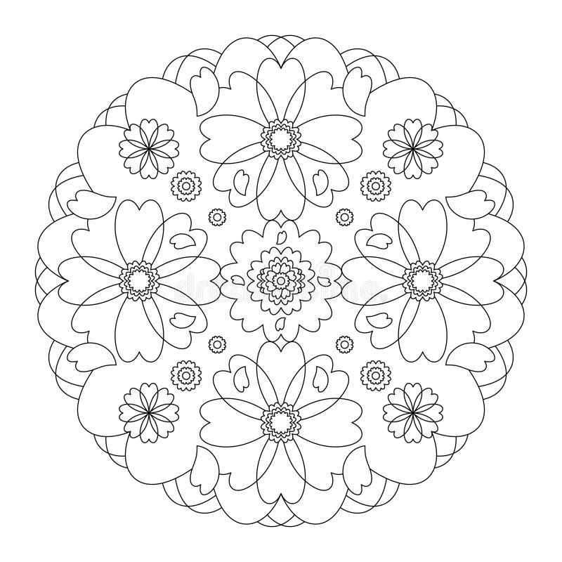 Färgsida för Mandala Hearts mandala Färgsida, illustrera vektorn svart och vit Art Therapy Sidan för antistressfärgning arkivbild
