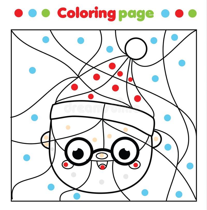 färgsidan för tomten Pappa Frost Color efter punkter, utskrivbar aktivitet Barn och skolspel - nyår och jul stock illustrationer