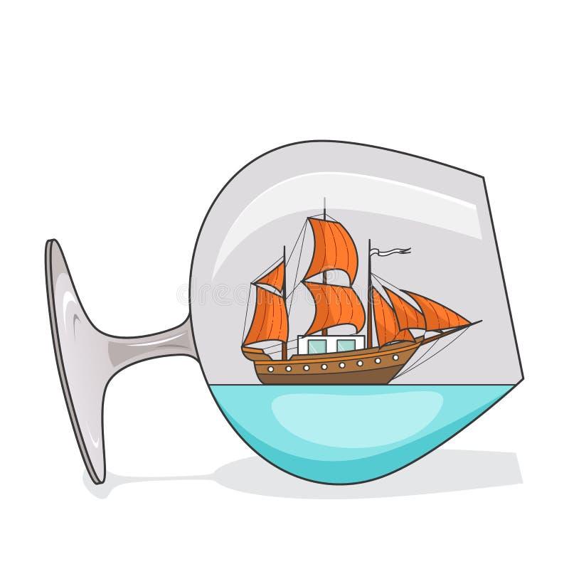Färgskeppet med apelsinen seglar i exponeringsglas Souvenir med segelbåten för turen, turism, loppbyrå, hotell, semesterkort royaltyfri illustrationer