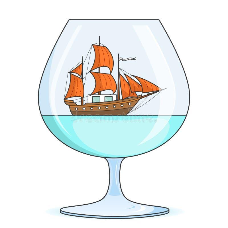Färgskeppet med apelsinen seglar i exponeringsglas Souvenir med segelbåten för turen, turism, loppbyrå, hotell, semesterkort vektor illustrationer