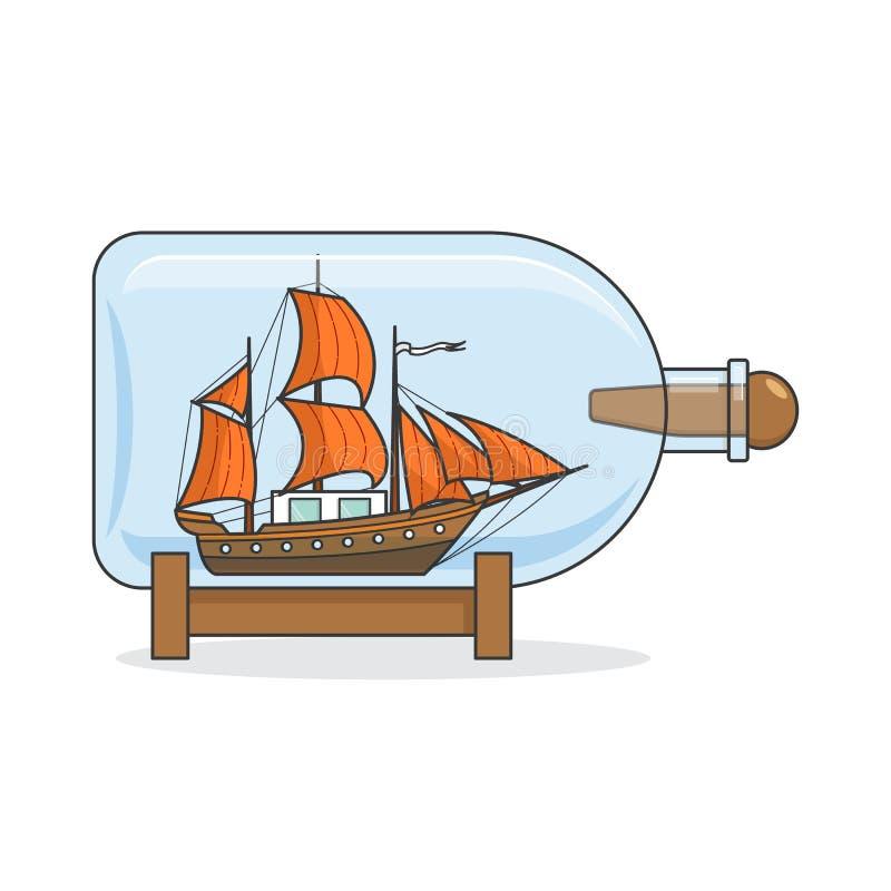 Färgskeppet med apelsinen seglar i flaskan Souvenir med segelbåten för turen, turism, loppbyrå, hotell, semesterkort stock illustrationer