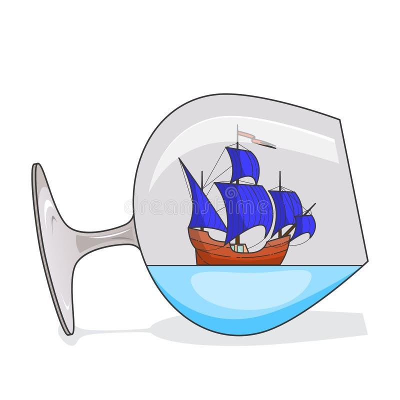 Färgskeppet med blått seglar i exponeringsglas Souvenir med segelbåten för turen, turism, loppbyrå, hotell, semesterkort royaltyfri illustrationer