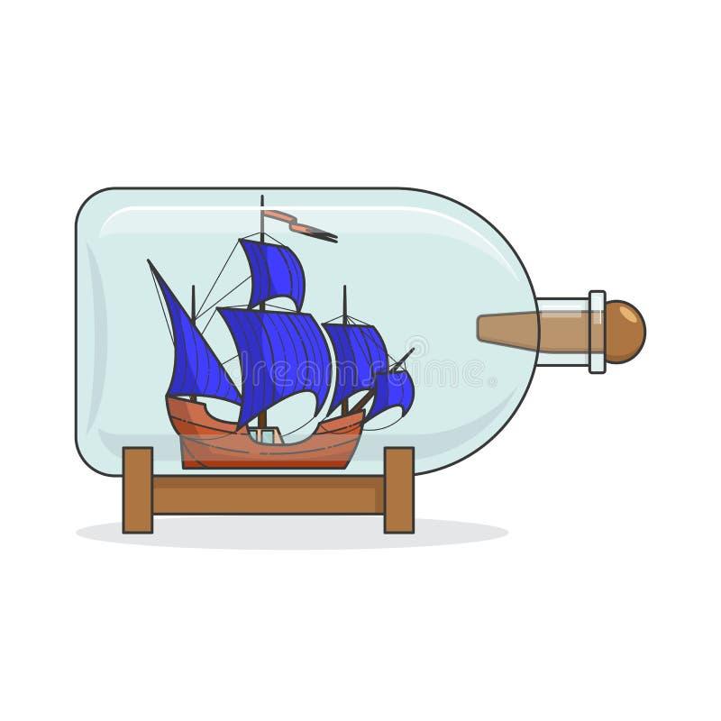 Färgskeppet med blått seglar i flaskan Souvenir med segelbåten för turen, turism, loppbyrå, hotell, semesterkort stock illustrationer