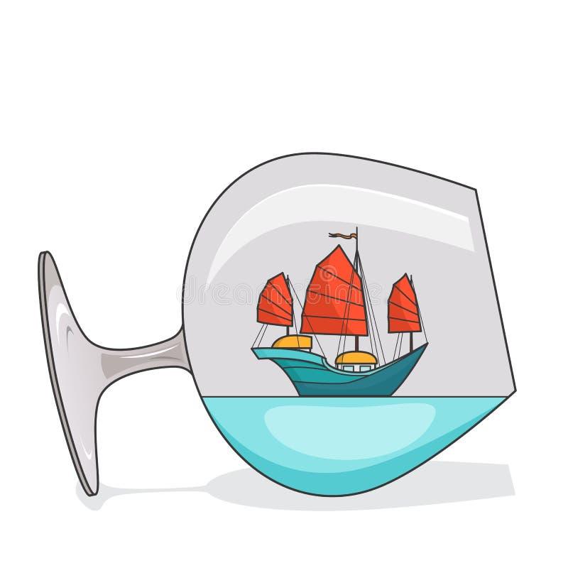 Färgskeppet med rött seglar i exponeringsglas Souvenir med segelbåten för turen, turism, loppbyrå, hotell, semesterkort vektor illustrationer