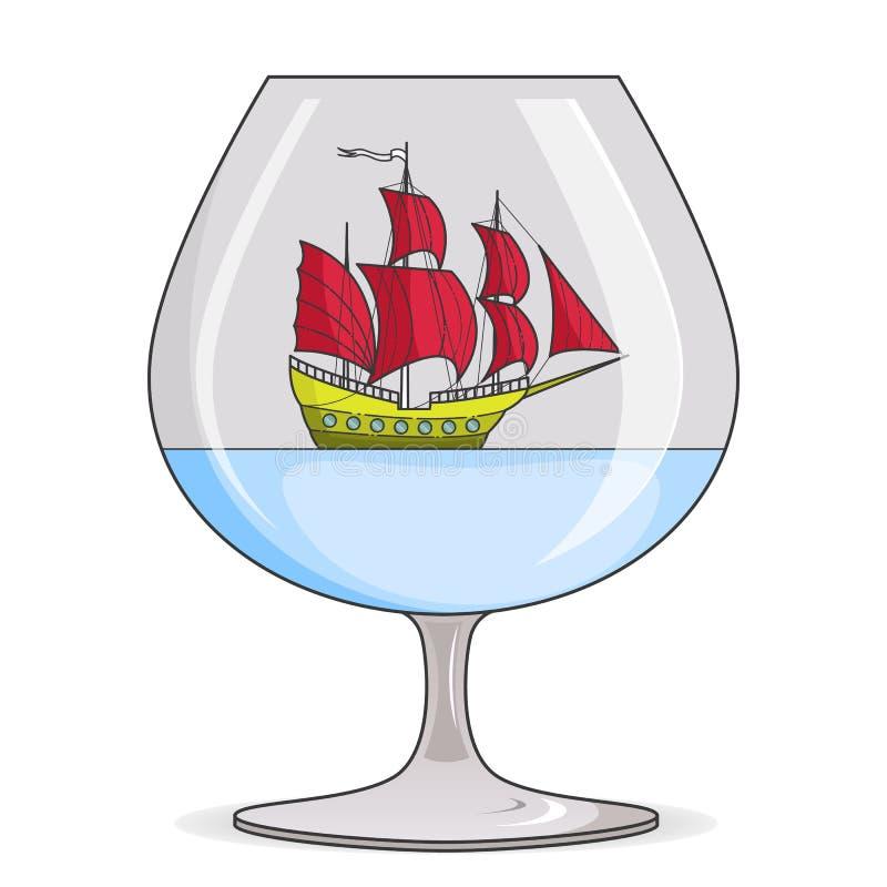 Färgskeppet med rött seglar i exponeringsglas Souvenir med segelbåten för turen, turism, loppbyrå, hotell, semesterkort stock illustrationer
