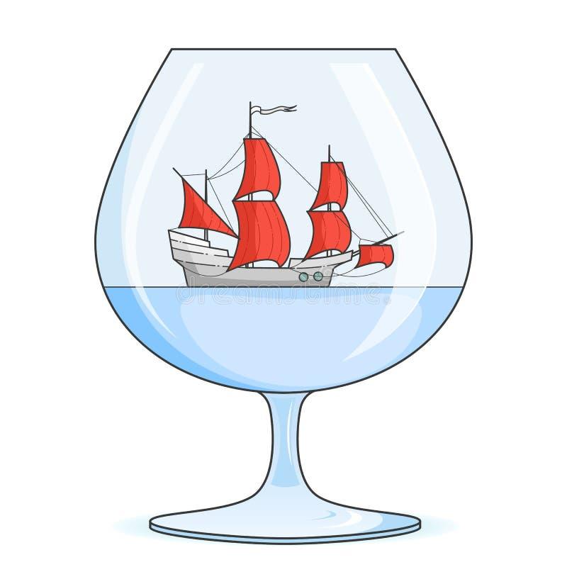 Färgskeppet med rött seglar i exponeringsglas Souvenir med segelbåten för turen, turism, loppbyrå, hotell, semesterkort royaltyfri illustrationer