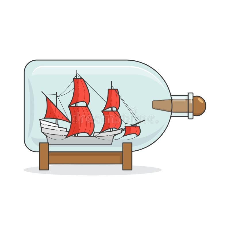 Färgskeppet med rött seglar i flaskan Souvenir med segelbåten för turen, turism, loppbyrå, hotell, semesterkort vektor illustrationer