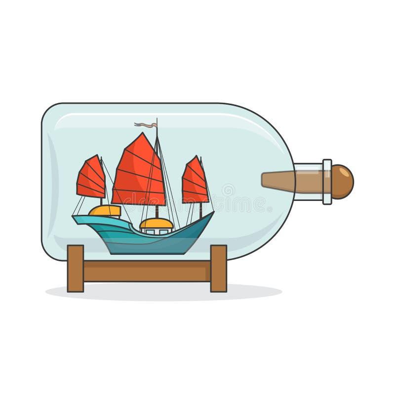 Färgskeppet med rött seglar i flaskan Souvenir med segelbåten för turen, turism, loppbyrå, hotell, semesterkort royaltyfri illustrationer