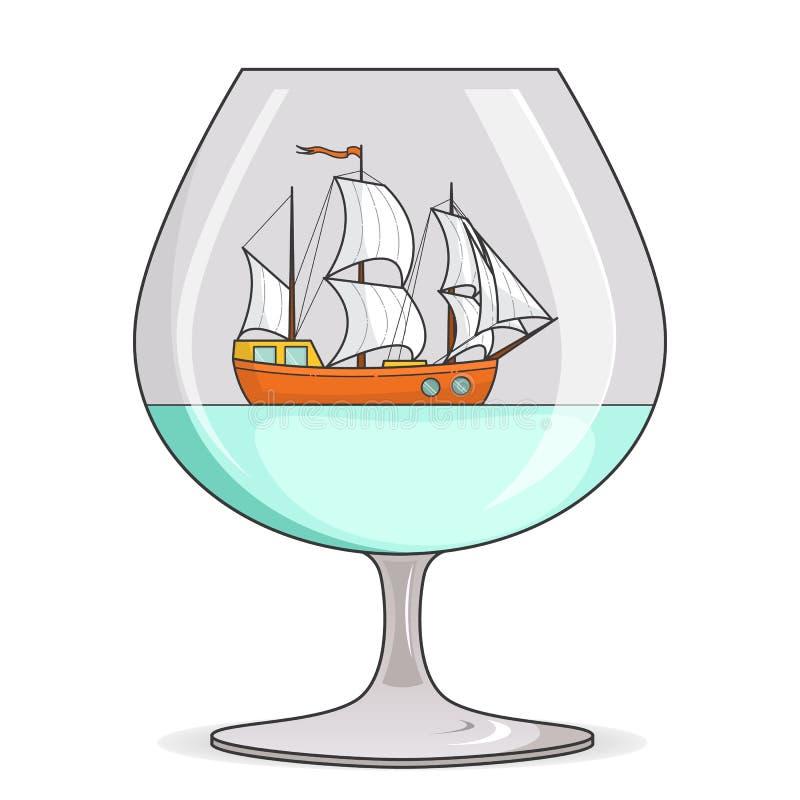 Färgskeppet med vit seglar i exponeringsglas Souvenir med segelbåten för turen, turism, loppbyrå, hotell, semesterkort stock illustrationer