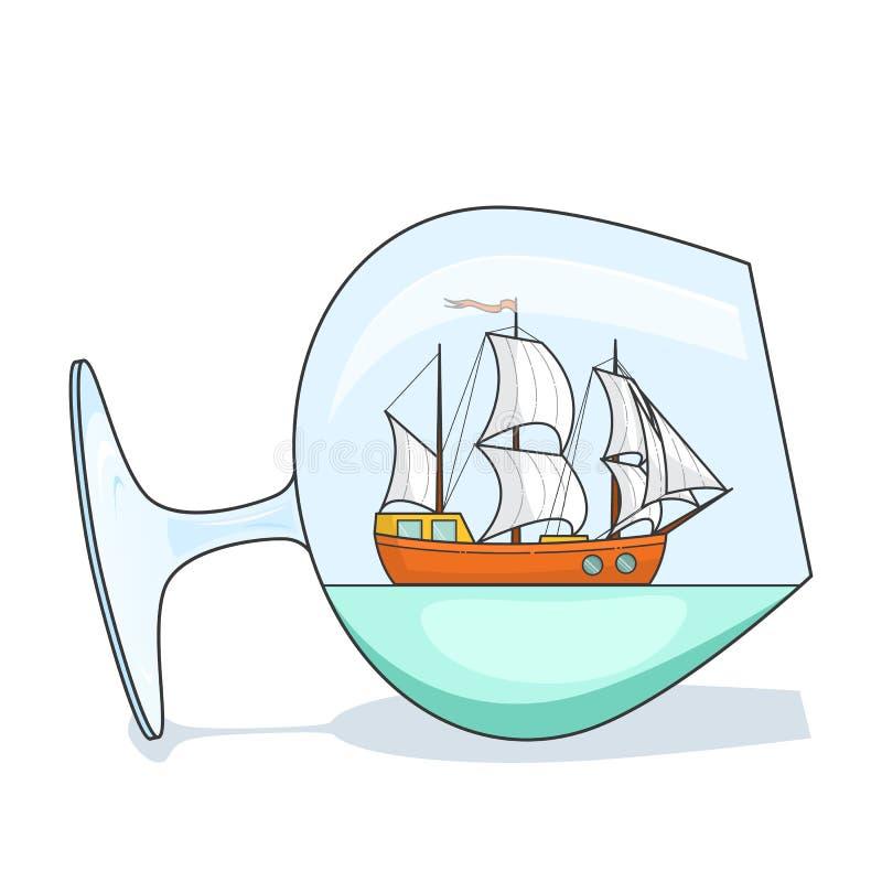 Färgskeppet med vit seglar i exponeringsglas Souvenir med segelbåten för turen, turism, loppbyrå, hotell, semesterkort vektor illustrationer