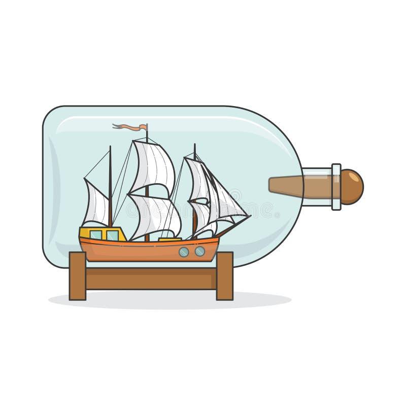 Färgskeppet med vit seglar i flaskan Souvenir med segelbåten för turen, turism, loppbyrå, hotell, semesterkort vektor illustrationer