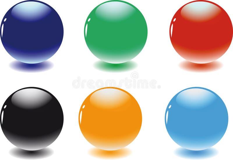 färgspheres vektor illustrationer