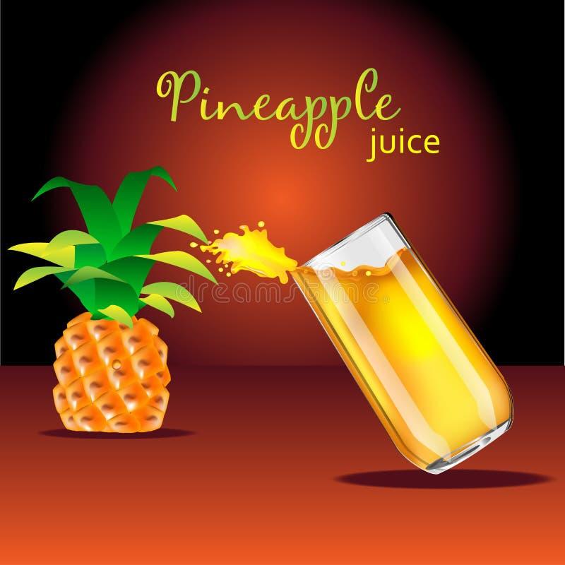 Färgstänk av exponeringsglasapelsinen Ananasfruktsaft stock illustrationer