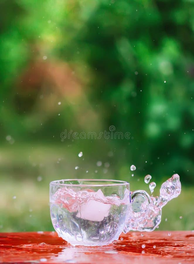 Färgstänk av kall sötvatten med iskuben i genomskinlig exponeringsglaskopp i tabelloutoorsna i sommardag arkivbild