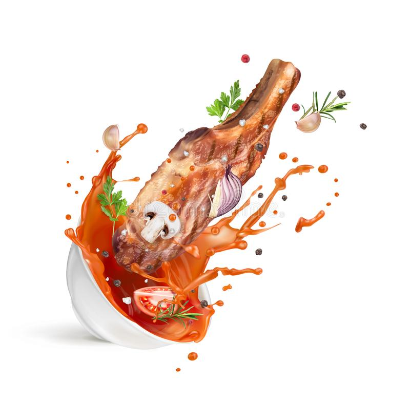 färgstänk av ketchup i en vit platta med kött och kryddor stock illustrationer