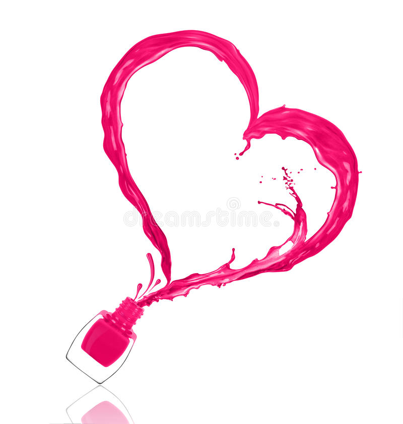 Färgstänk av spikar polermedel i formen av en hjärta arkivfoto