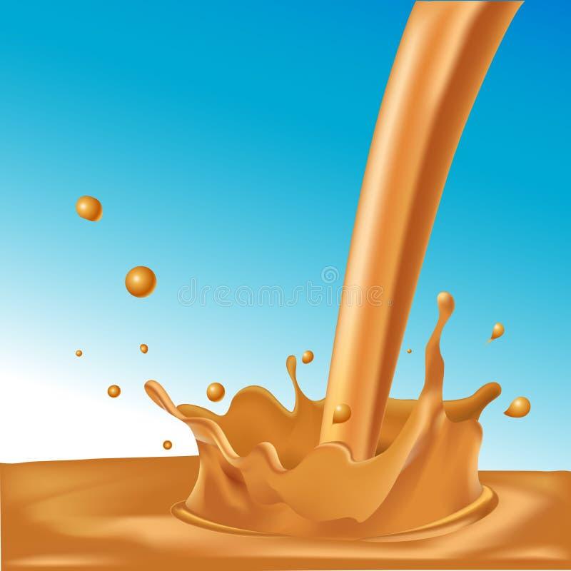 Färgstänk av varm kaffe eller karamell på blå bakgrund vektor illustrationer