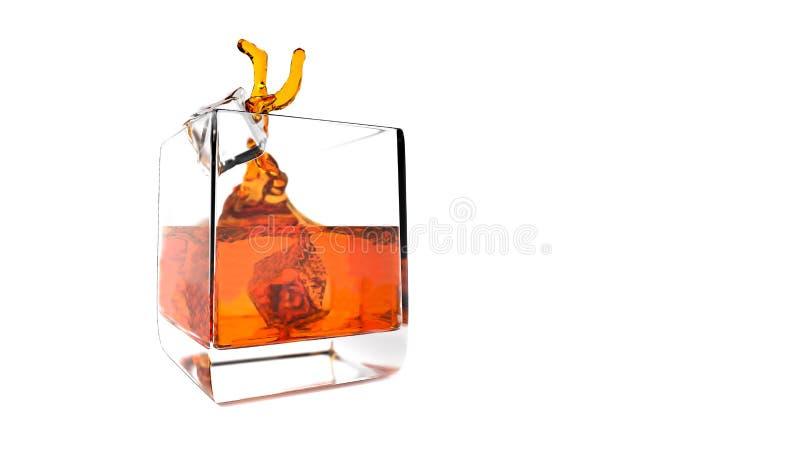 Färgstänk av whisky med is royaltyfri illustrationer