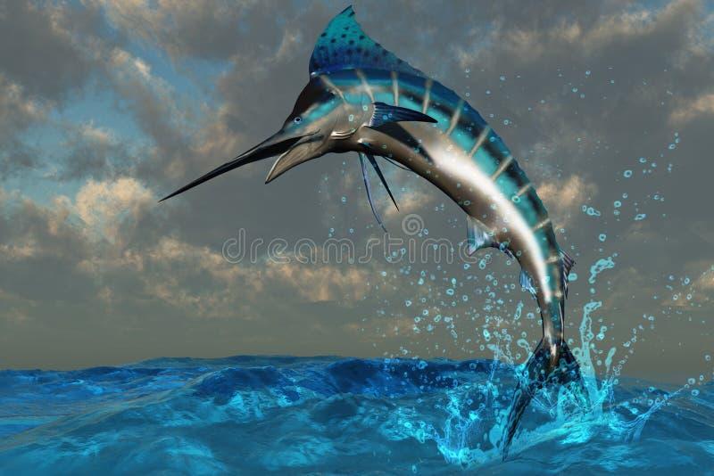 färgstänk för blå marlin stock illustrationer