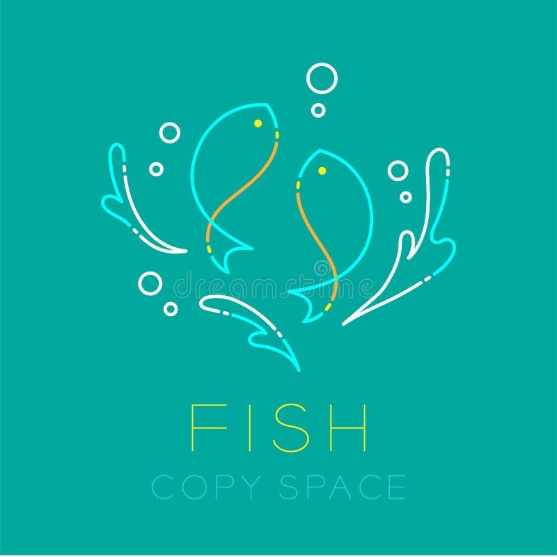 Färgstänk för fisk två eller Fiskarna-, vattenoch symbol för logo för luftbubbla royaltyfri illustrationer