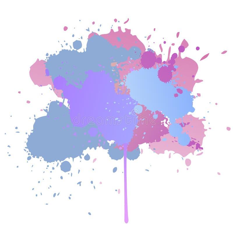 Färgstänk för målarfärg för gouachebakgrunds-, rosa färg-, blått- och lilavattenfärg på den vita vektormodellen royaltyfri illustrationer