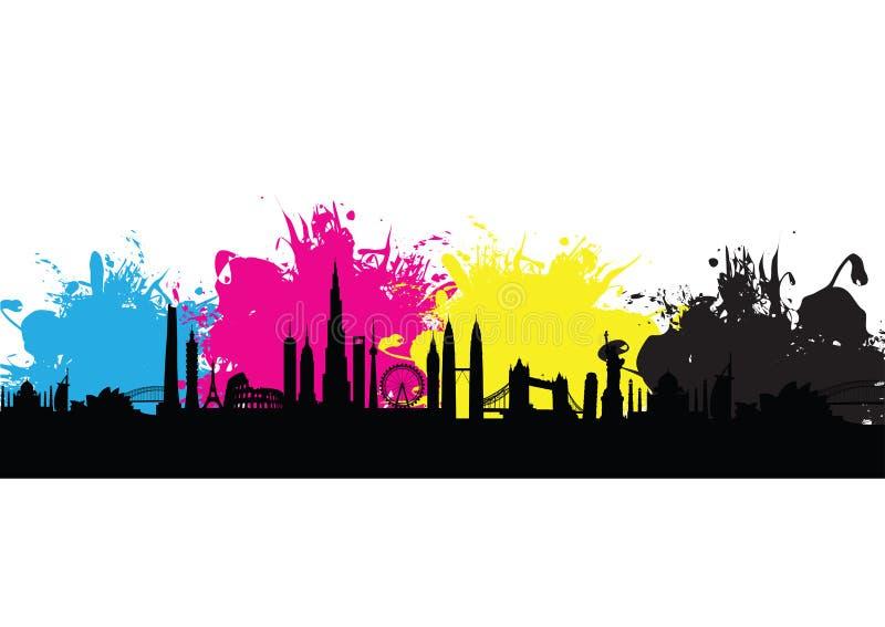 Färgstänk för modell för Cmyk byggnadscityscape royaltyfri illustrationer