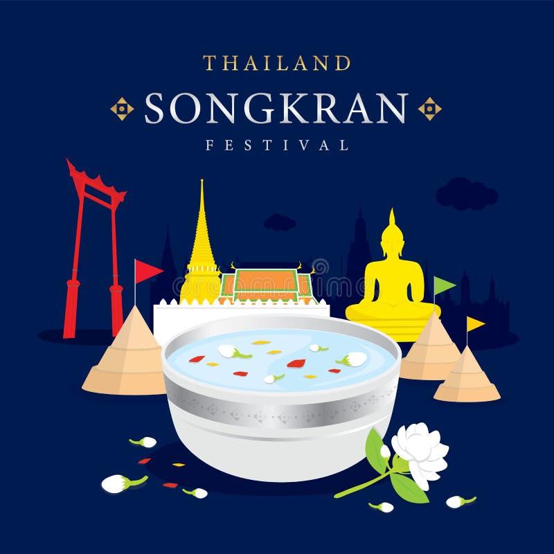 Färgstänk för Songkran festivalvatten av Thailand, thailändsk traditionell designbakgrundsvektor vektor illustrationer