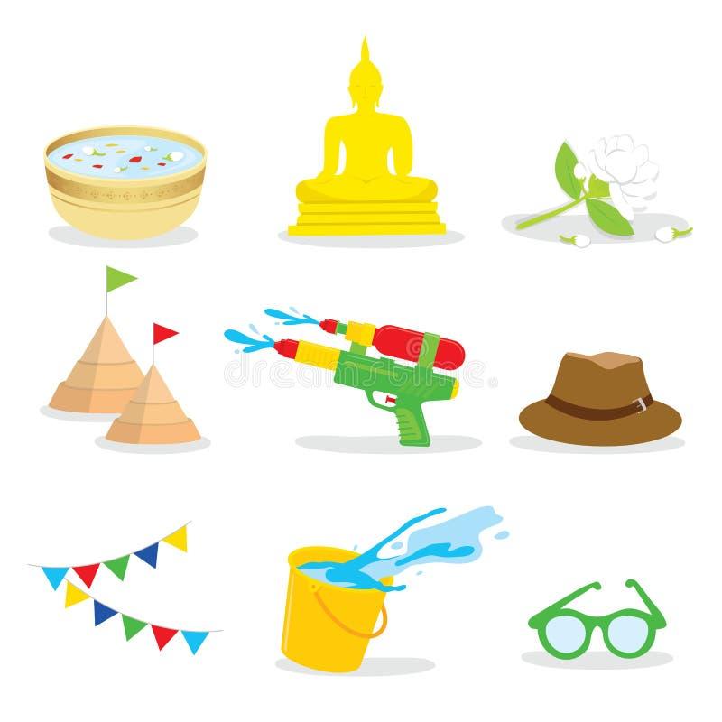 Färgstänk för Songkran festivalvatten av Thailand, thailändsk traditionell designbakgrundsvektor royaltyfri illustrationer