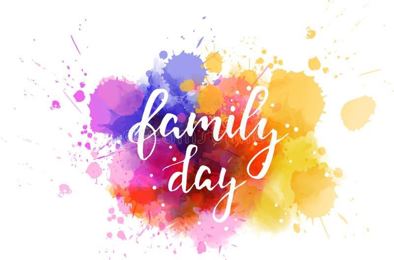 Färgstänk för vattenfärg för familjdagferie royaltyfri illustrationer