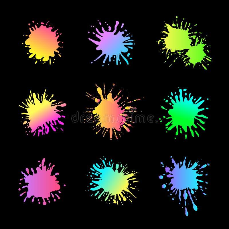 Färgstänk för vektorneonmålarfärg som isolerades på svart bakgrund, idérika designbeståndsdelar, ställde in vektor illustrationer