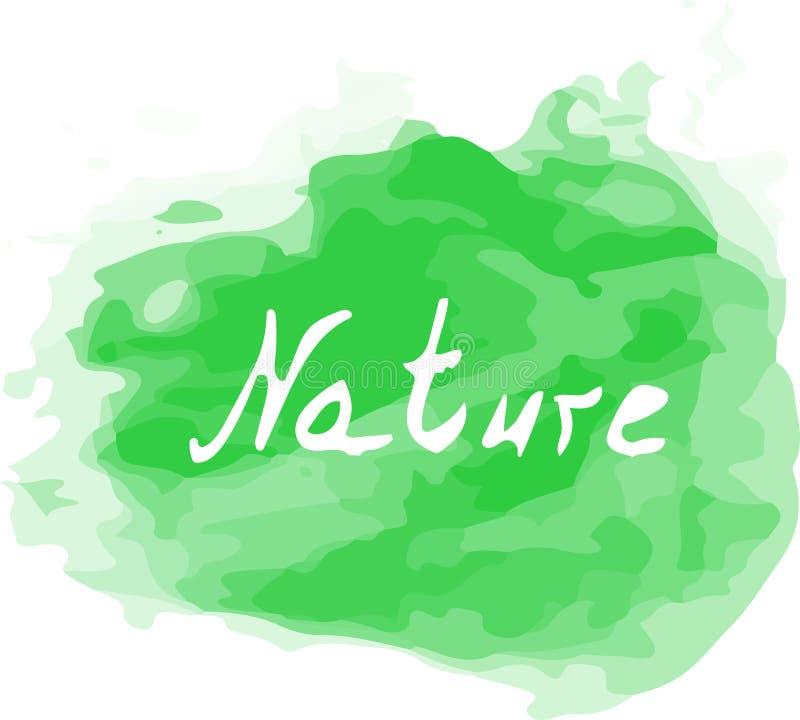 Färgstänk för vektorvattenfärggräsplan med ett naturord på det Idérik konst för din design royaltyfri fotografi