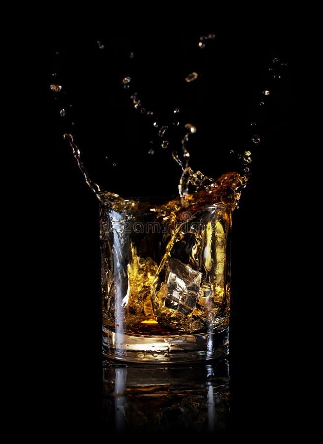 Färgstänk i runt exponeringsglas av whisky arkivfoto