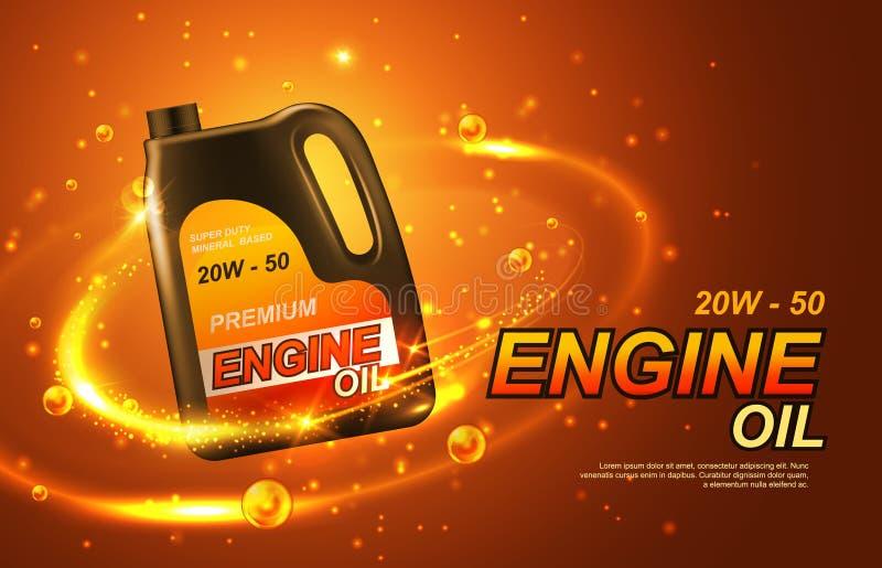 Färgstänk och droppar för bilmotorolja guld- royaltyfri illustrationer