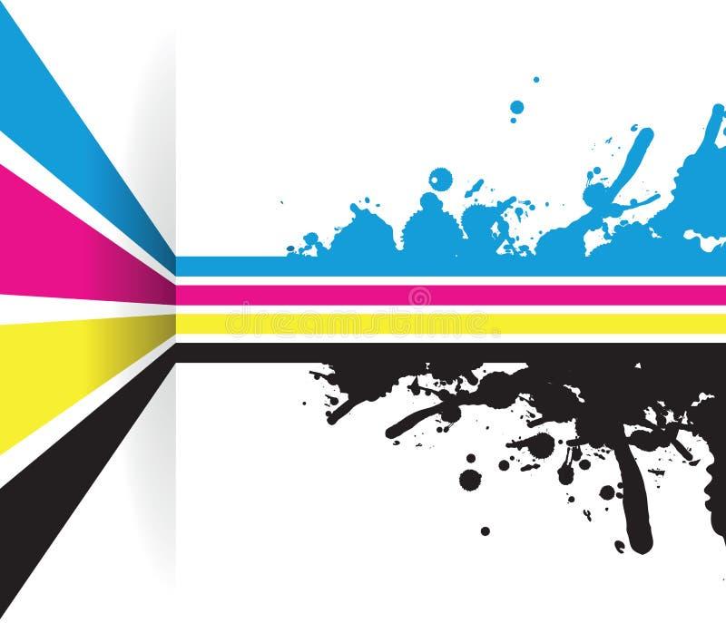 Färgstänkcmyklinje pilbakgrund stock illustrationer