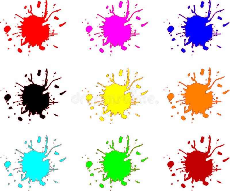 färgstänkfläckar stock illustrationer
