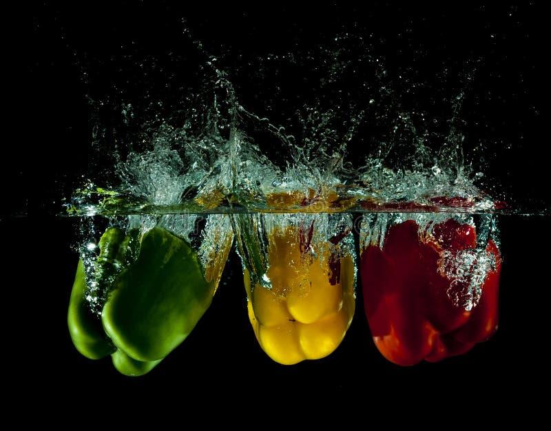 färgstänkgrönsakvatten royaltyfri bild