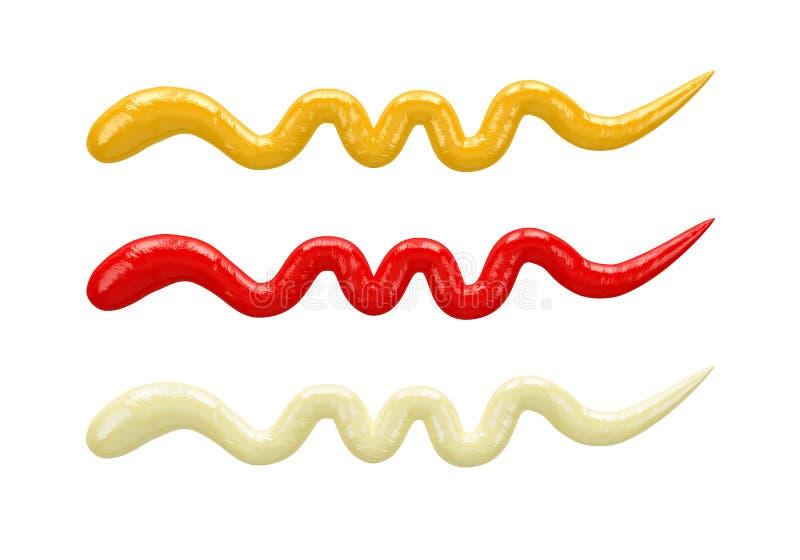 Färgstänkmajonnäs, senap, ketchup inom keramiska krus som isoleras på vit bakgrund, bästa sikt stock illustrationer